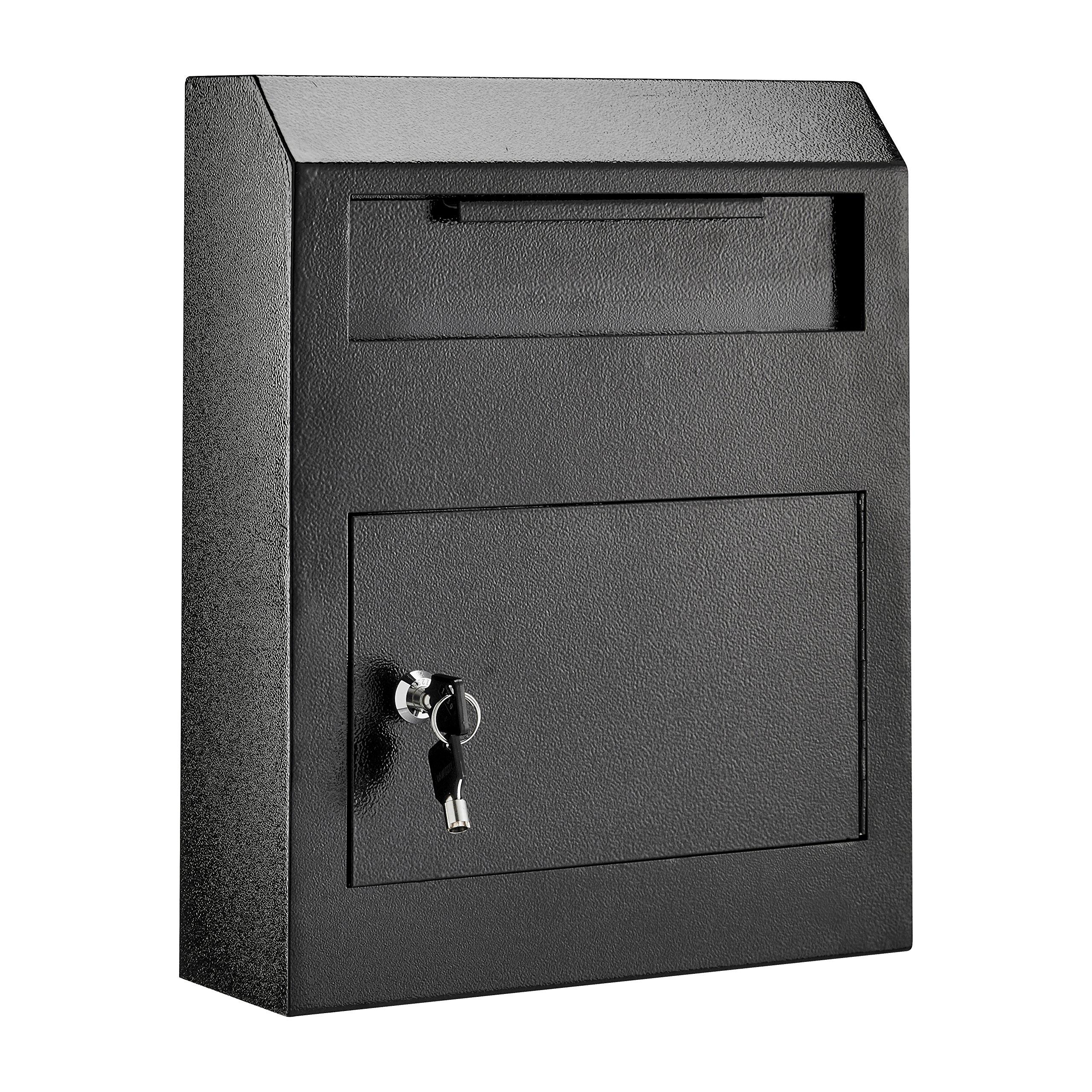 AdirOffice Heavy Duty Secured Safe Drop Box (Black)
