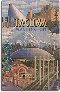 product image for Lantern Press Tacoma, Washington - Montage Scenes (10x15 Wood Wall Sign, Wall Decor Ready to Hang)