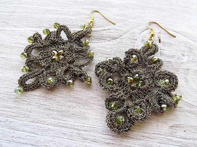 código promocional a164f 7e429 Pendientes de crochet verde, pendientes colgantes ...