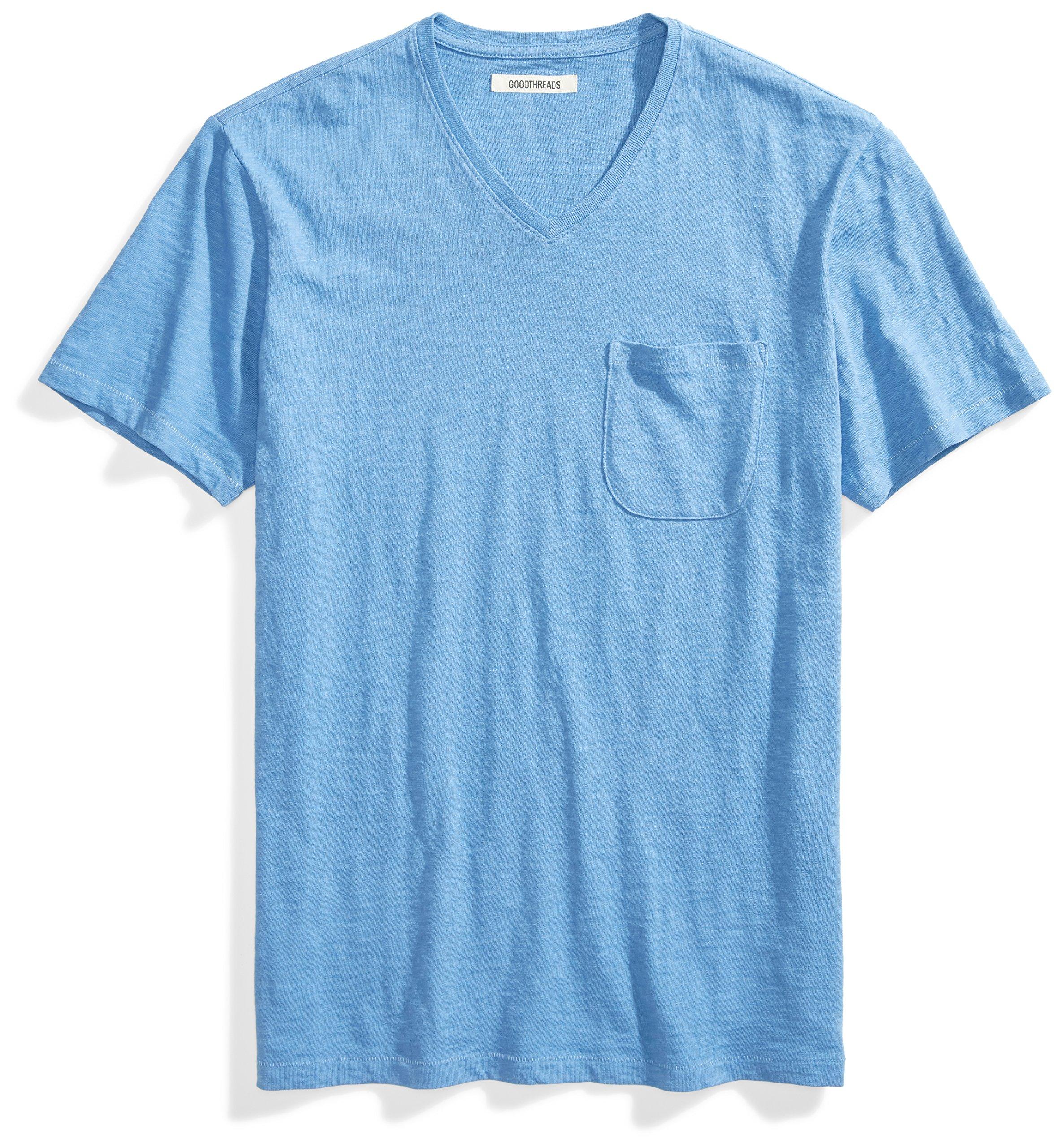 Goodthreads Men's Short-Sleeve V-Neck Slub Pocket T-Shirt, Moonlight Blue/Blue, Large