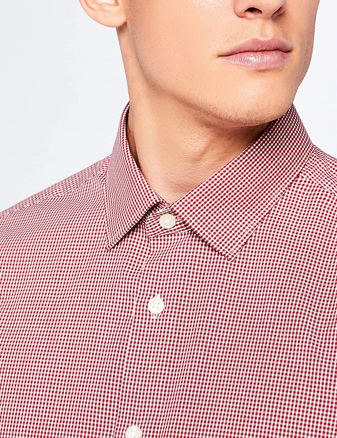 XXL Camicia formale , Gingham Red Uomo Marchio Rosso Hem /& Seam Slim Fit Gingham Label: XXL