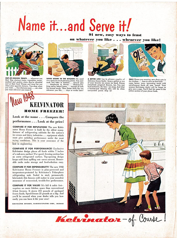 1948 Kelvinator Home Freezer New-6 Cubic Ft-Chest-Original 13.5 * 10.5 Magazine Ad