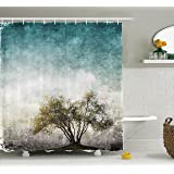 Ambesonne Tree of Life Decor Collection, Grunge Landscape with Single Tree and Stained Retro Background Rustic Home, Polyester Fabric Bathroom Shower Curtain Set with Hooks, Teal Green Beige