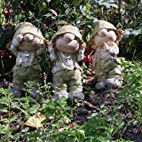 Cuthbert Kate and Cerys standing , See no Evil, Hear no Evil, Speak no Evil, Garden Ornament, Gnome, Garden Fairy, Troll, Imp