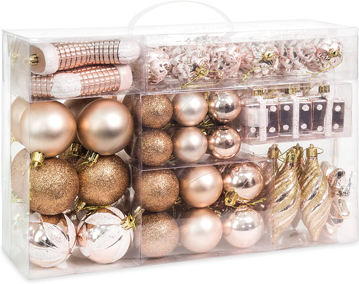 Amazon Com Best Choice Products Set Of 72 Shatterproof Handcrafted Assorted Hanging Christmas Ornaments W Embossed Glitter Design Rose Gold Furniture Decor