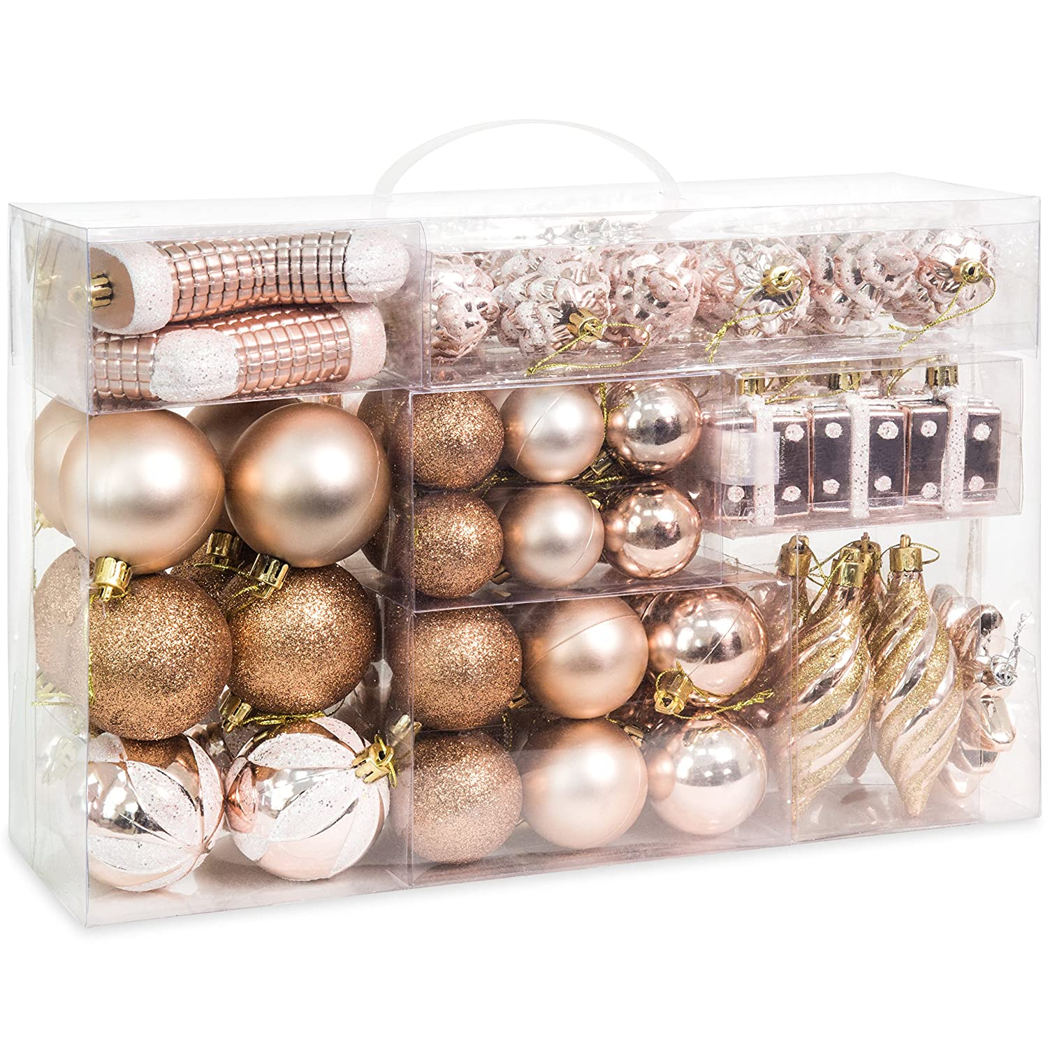 Best Choice Products Set Of 72 Shatterproof Handcrafted Assorted Hanging Christmas Ornaments With Embossed Glitter Design Rose Gold