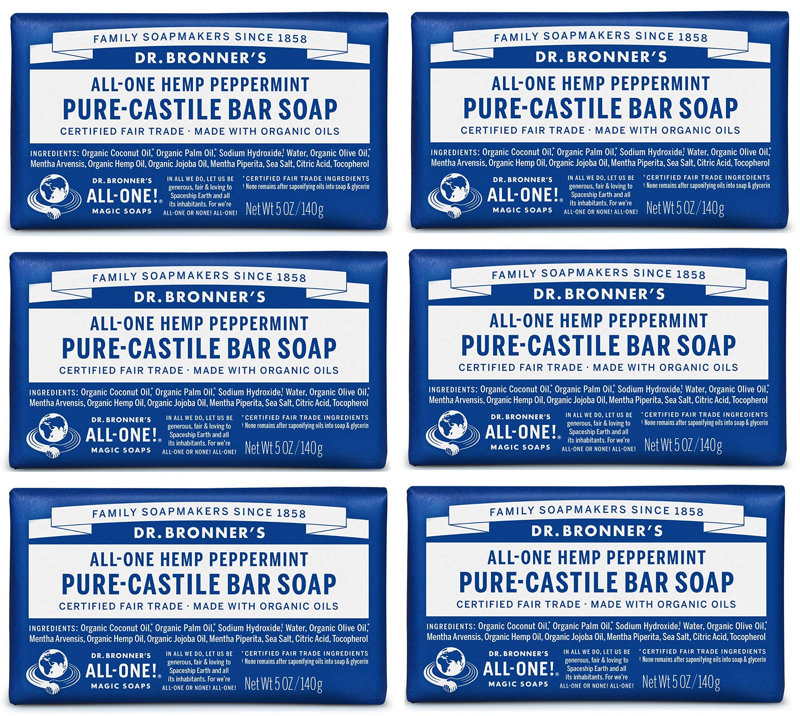 Dr. Bronner's Pure-Castile Soap, Peppermint, 5 oz, 6 Pack