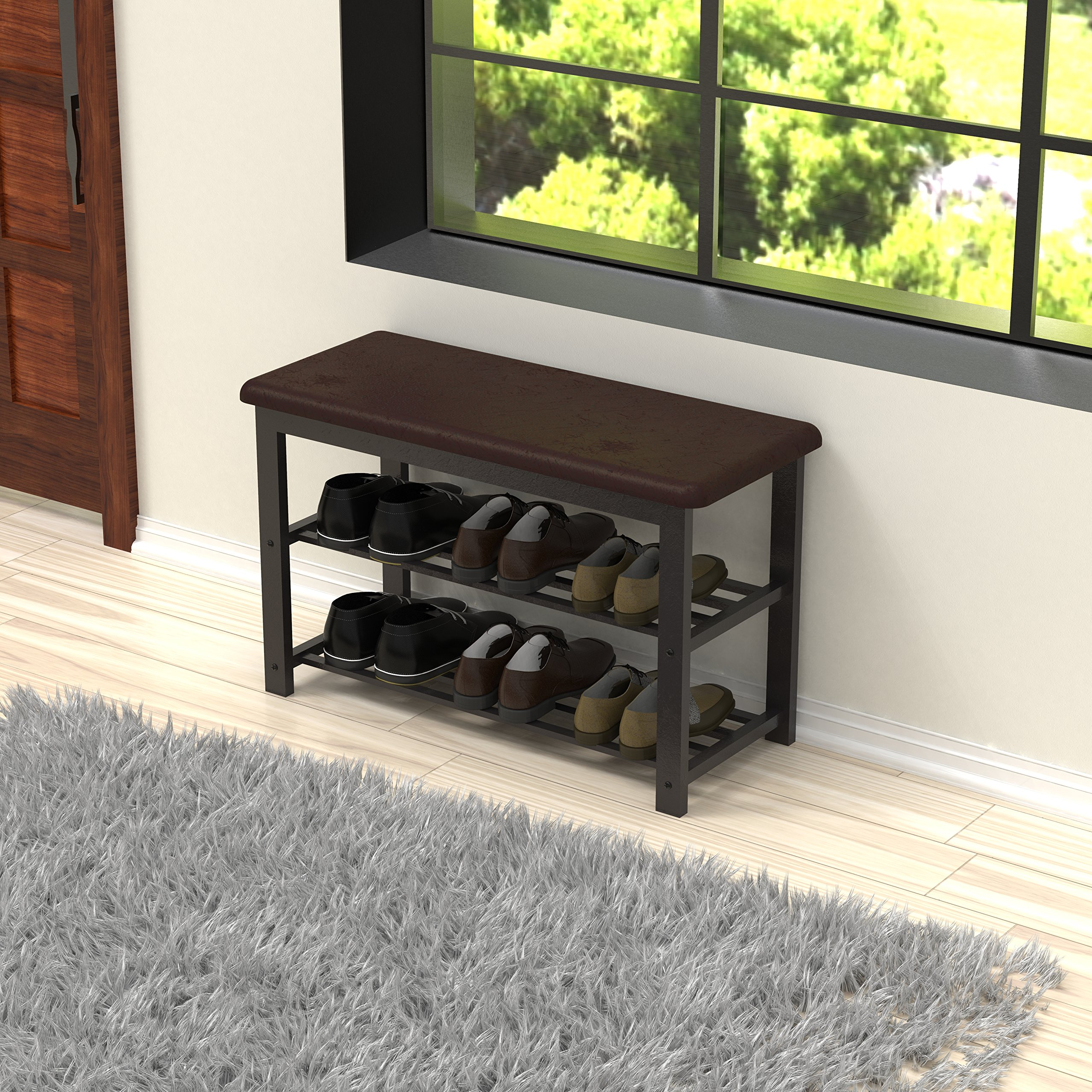 Simple Houseware Faux Leather Top Shoe Bench for Entryway Shoes Storage Organizer Rack by Simple Houseware (Image #5)