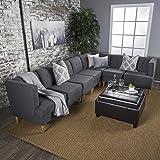 Milltown Mid Century Modern Fabric 7 Piece Sectional Sofa Set (Dark Grey)