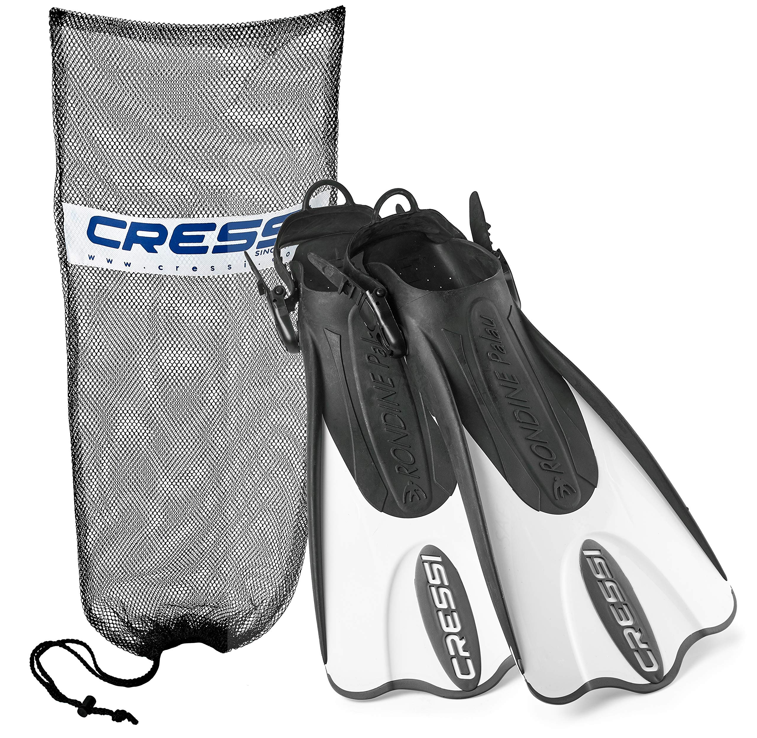 Cressi Palau Short Snorkeling Swim Fins with Mesh Bag (Black White, Small/Medium)