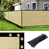 Amgo Custom Made 4' x 68' Custom Size Beige Fence Privacy Screen Windscreen,with Bindings & Grommets, Heavy Duty Commercial 9