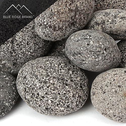 Blue Ridge Brand Lava Rock – 50-Pound Tumbled Lava Stones – 3 Black Gray Lava Pebbles – Volcanic Rock – Landscaping Rocks