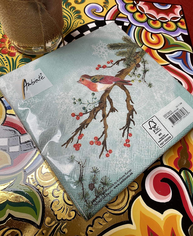 F/ête env Serviettes Ambiente Lunch 33 x 33 cm X-Mas Bird House No/ël Automne Hiver Id/éal comme cadeau et d/écoration de table