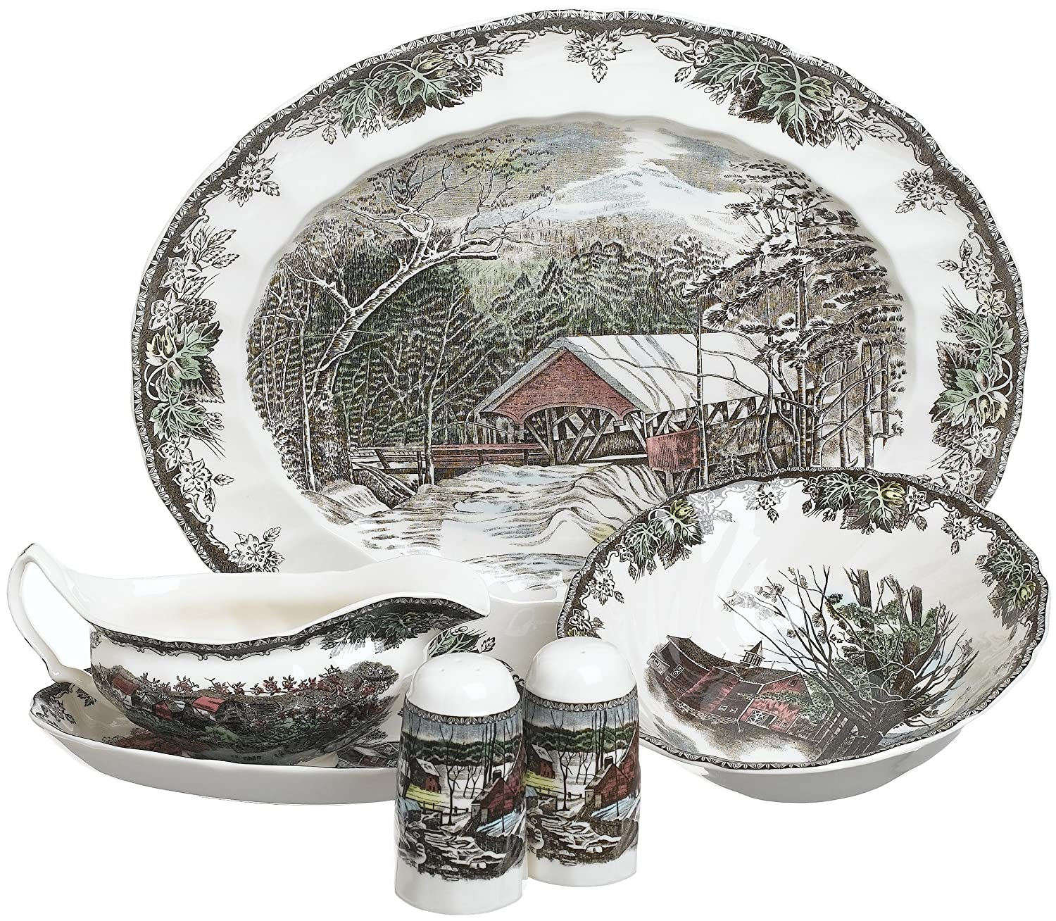 Christmas Tablescape Décor - Friendly Village 6-Piece Completer Set - by Johnson Brothers