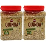 All-Natural Whole Grain White Quinoa - Gluten Free, Raw, High Protein, Kosher, Premium Quality - Pre-Washed Quinoa - Pack of 2 - 24.7-ounce Jar - By Baron's