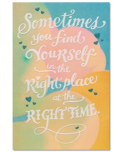 Amazon American Greetings Romantic Right Place Time Birthday Greeting Card With Glitter Office Products