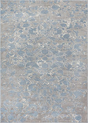 Well Woven Rondo Blue Microfiber High-Low Pile Vintage Abstract Erased 4×6 3 11 x 5 3 Area Rug Modern Floral All Over Oriental Carpet
