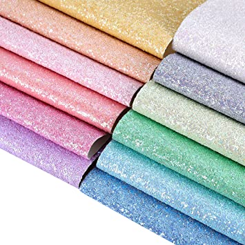 AOUXSEEM Chunky Glitter Sequins Fabric Faux Leather Sheets【6 Pcs//A4 Size】Gorgeous Synthetic Craft Fabric Thick Canvas Back for DIY Earrings Bows Jewelry Making,21 cm x 30 cm 8 x 12