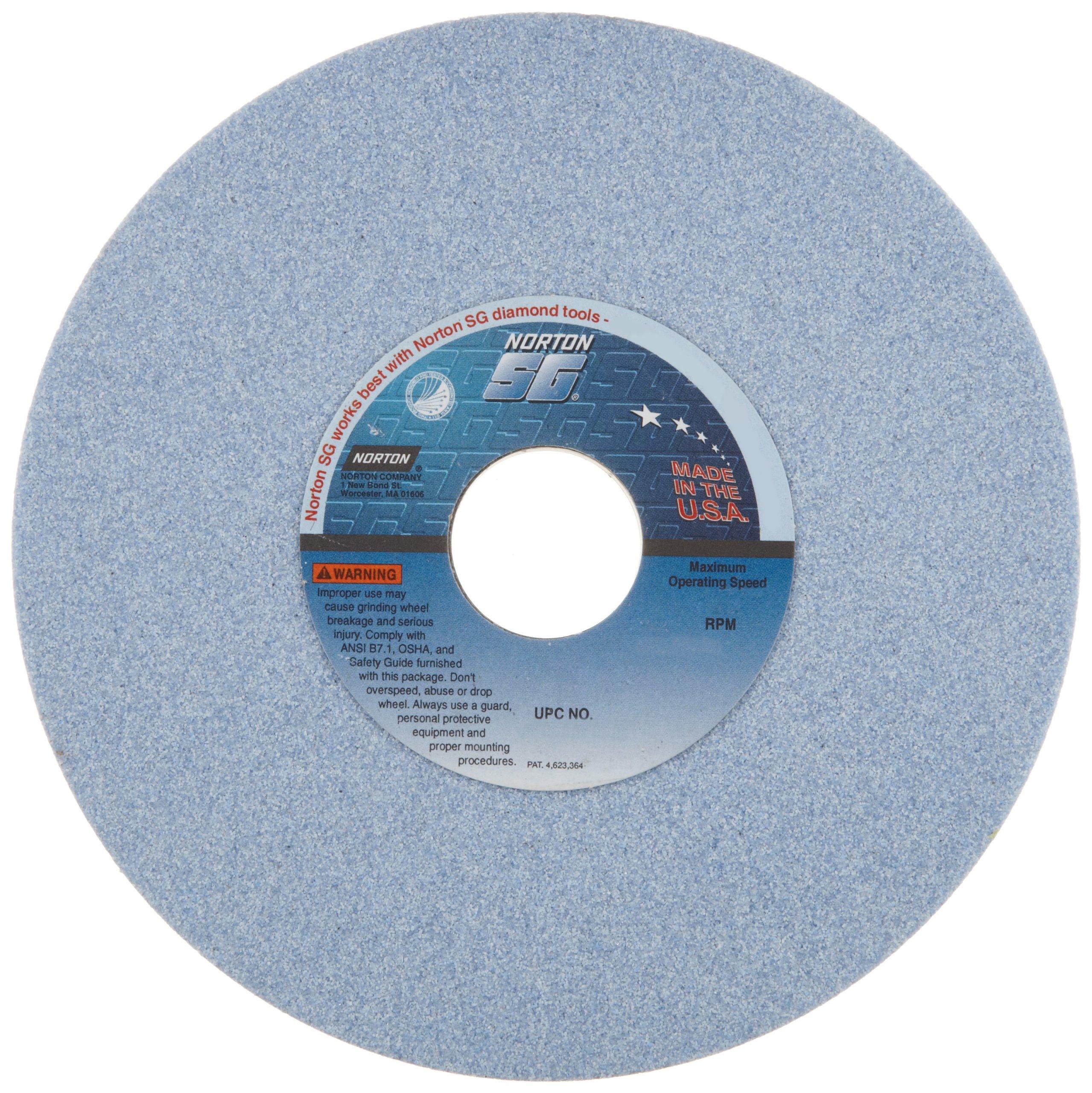 Norton 5SG Vitrified Toolroom Abrasive Wheel, Type 1 Straight, Ceramic Aluminum Oxide, 1-1/4'' Arbor, 7'' Diameter, 1/2'' Thickness, 46-I Grit (Pack of 1) by Norton Abrasives - St. Gobain