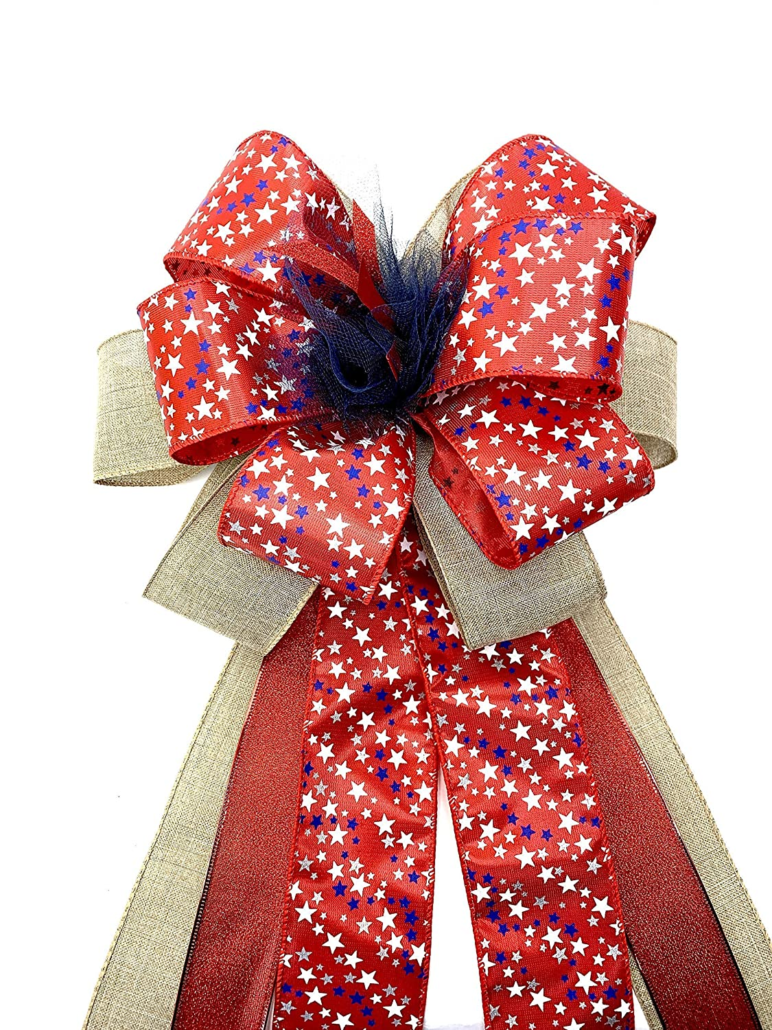 USA support swag bow 4th of July wreath bow Natural USA bow July 4th decor Patriotic Gift Bow Americana Wreath Bow Large Patriotic Door Bow