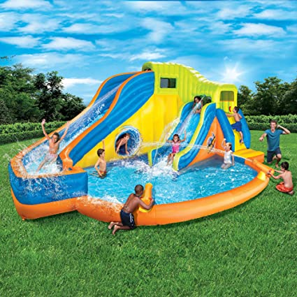 NEW Banzai Pipeline Twist Kids Inflatable Outdoor Water Park Pool Slides Cannons