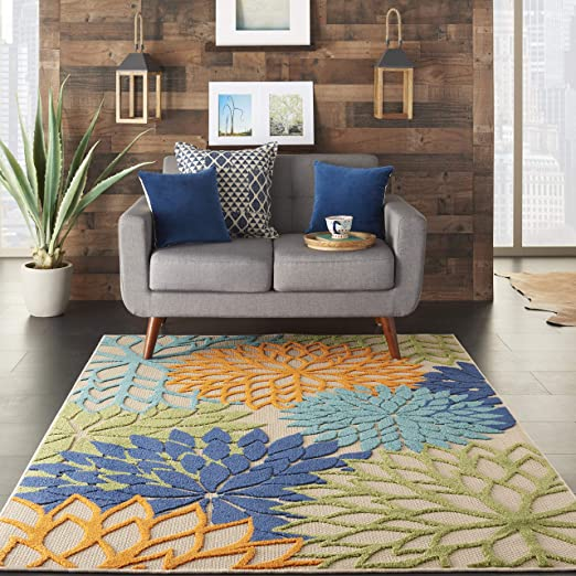 Nourison Aloha Indoor/Outdoor Floral Blue Multicolor Area Rug - The Runner Up