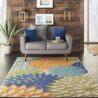 Nourison Aloha ALH05 Indoor/Outdoor Floral Blue Multicolor 5'3  x 7'5  Area Rug (5'x8')