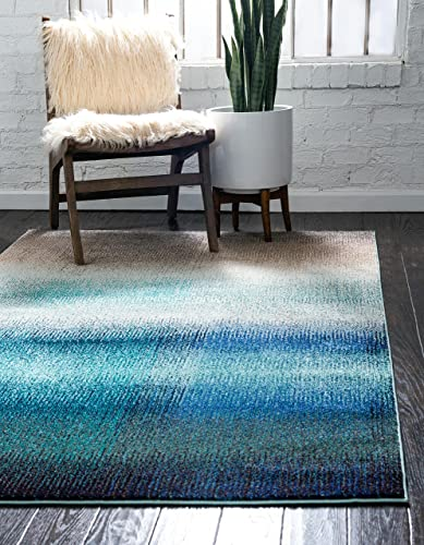 Unique Loom Estrella Collection Vibrant Abstract Blue Area Rug 10 6 x 16 5