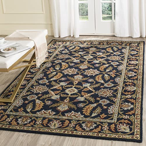 Safavieh Blossom Collection BLM219A Handmade Navy Premium Wool Area Rug 5 x 8