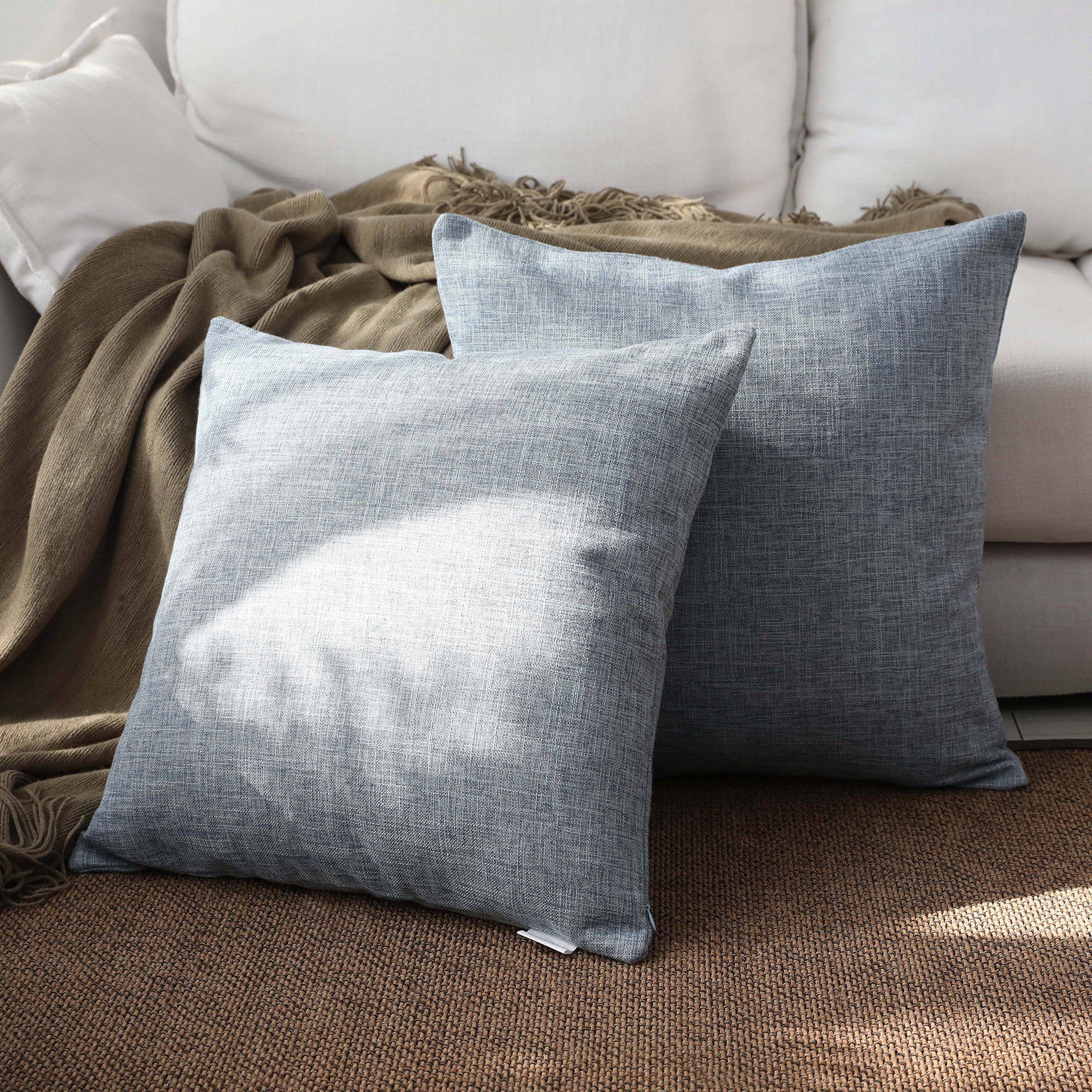 Kevin Textile Decoration Linen Pillow Cover Throw Cushion Cover Pillow Cover Euro Pillow Cases for Bed/Kids/Chair, 18''x18''(2 Pieces, Denim Blue)