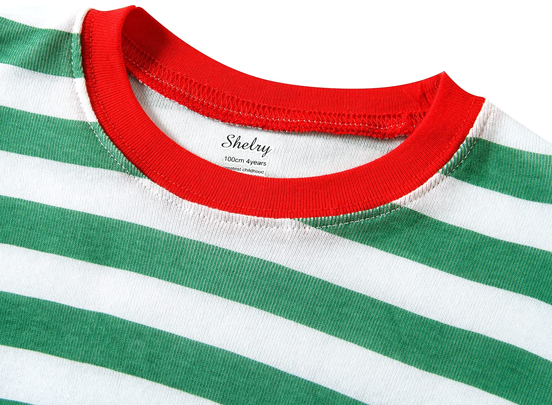 shelry Boys Girls Christmas Striped 2 Piece Kids Pajamas Set 100/% Cotton Toddler Pjs Green Size 6 Years