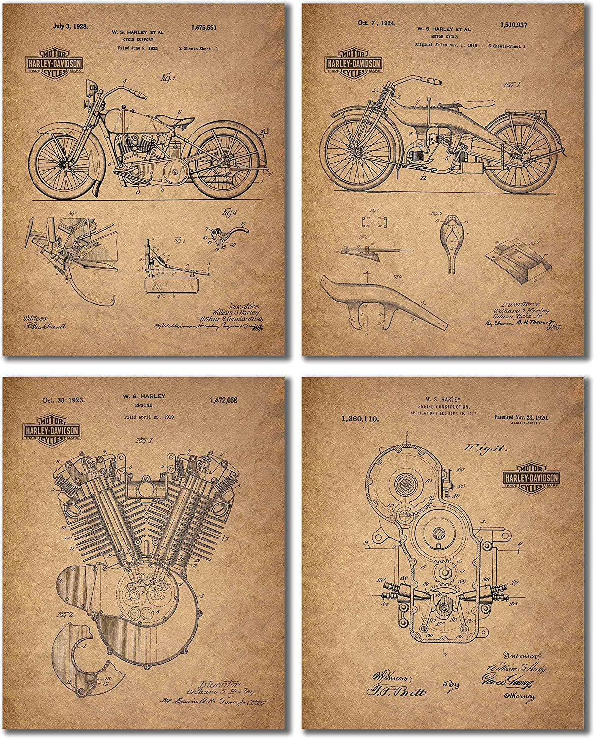 Harley Davidson Patent Wall Art Prints - Set of Four Photos (8x10)