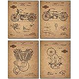 Harley Davidson Patent Wall Art Prints - Set of Four Photos (8x10)