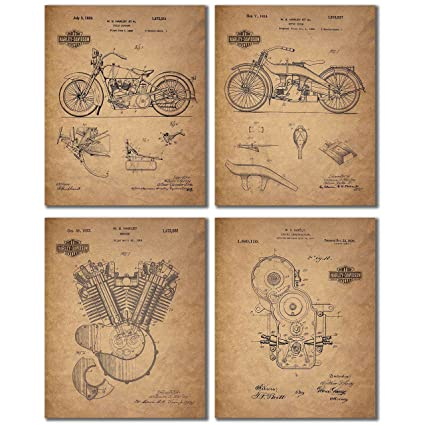 Amazoncom Harley Davidson Patent Wall Art Prints Set Of Four