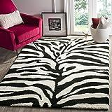 Safavieh Zebra Shag Collection SG452-1290 Ivory and Black Area Rug (8' x 10')