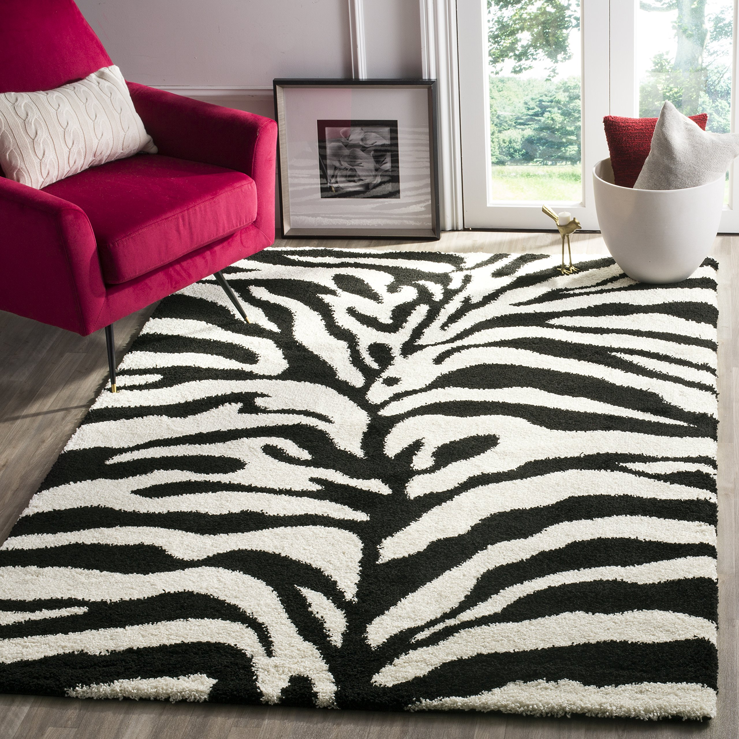 Safavieh Zebra Shag Collection SG452-1290 Ivory and Black Area Rug (3'3'' x 5'3'') by Safavieh
