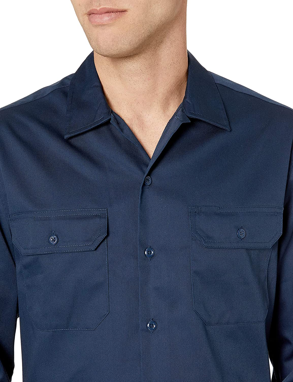 Essentials Long-Sleeve Stain and Wrinkle-Resistant Work Shirt Homme