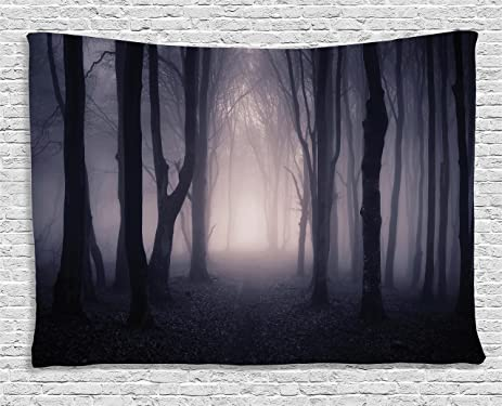Dark Tapestry Forest Farm House Decor By Ambesonne Path Through Deep With Fog Creepy