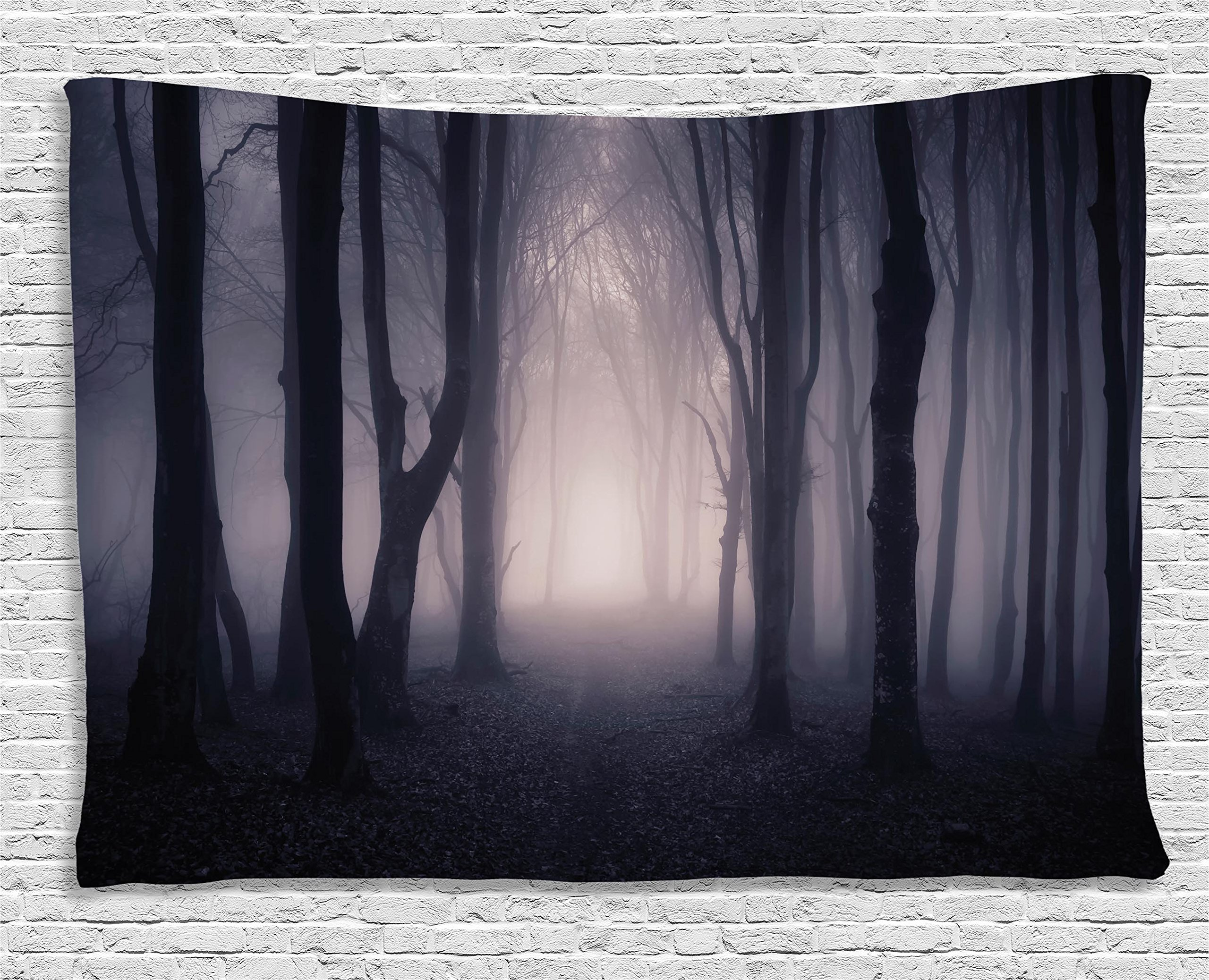 Ambesonne Dark Tapestry Forest Farm House Decor, Path Through Deep Forest with Fog Creepy Twisted Branches Trees Picture, Bedroom Living Room Dorm Wall Hanging, 80 X 60 inches, Purple Dark Grey