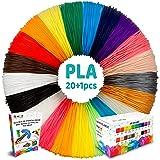 3D Pen Filament Refills - 20 plus 1 Bonus Color including 6 Glow in the Dark & Stencils eBook - 689ft 1.75mm PLA Filament Pack for 3D Printing Pens