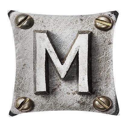 Letra M manta almohada Funda de cojín por Ambesonne, zinc hierro acero alfabeto tipografía con