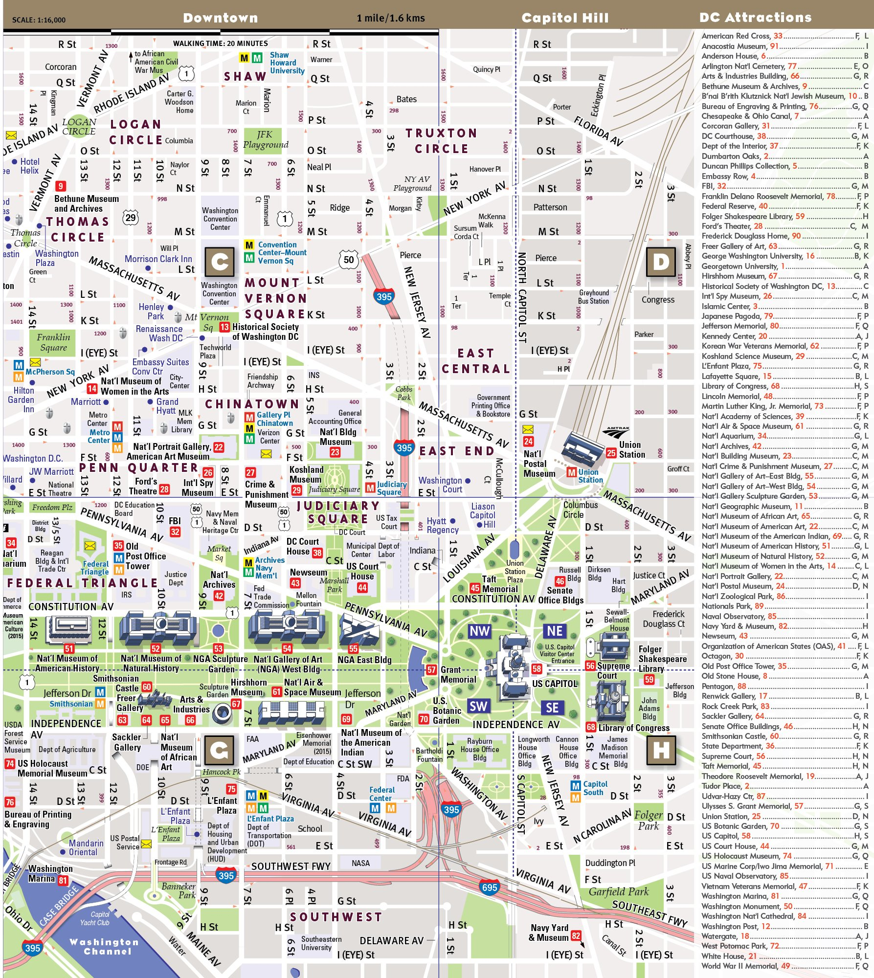 photo relating to Printable Map of Washington Dc Mall identified as MallSmart Washington DC Map by means of VanDam -- Laminated Town