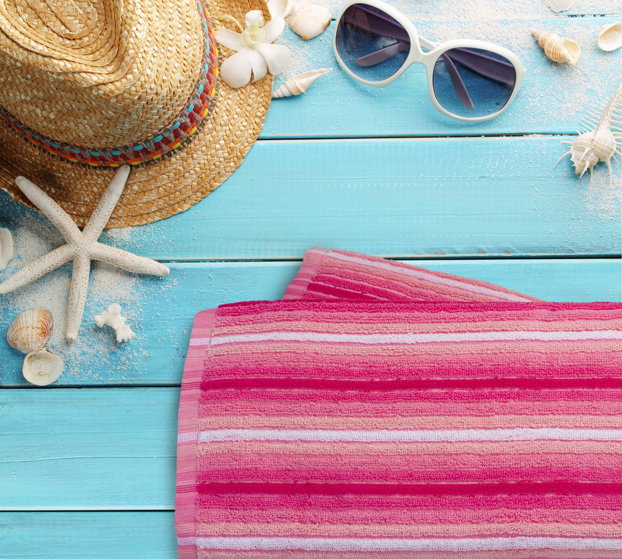 Everyday Resort Quality Cabana Ombre Pink Beach Towels - Pack of 2 Cabana Stripe Pool Towels 100% Cotton - Large 60'' by 30'' - Soft and Absorbent, Great for the Pool and the Beach!