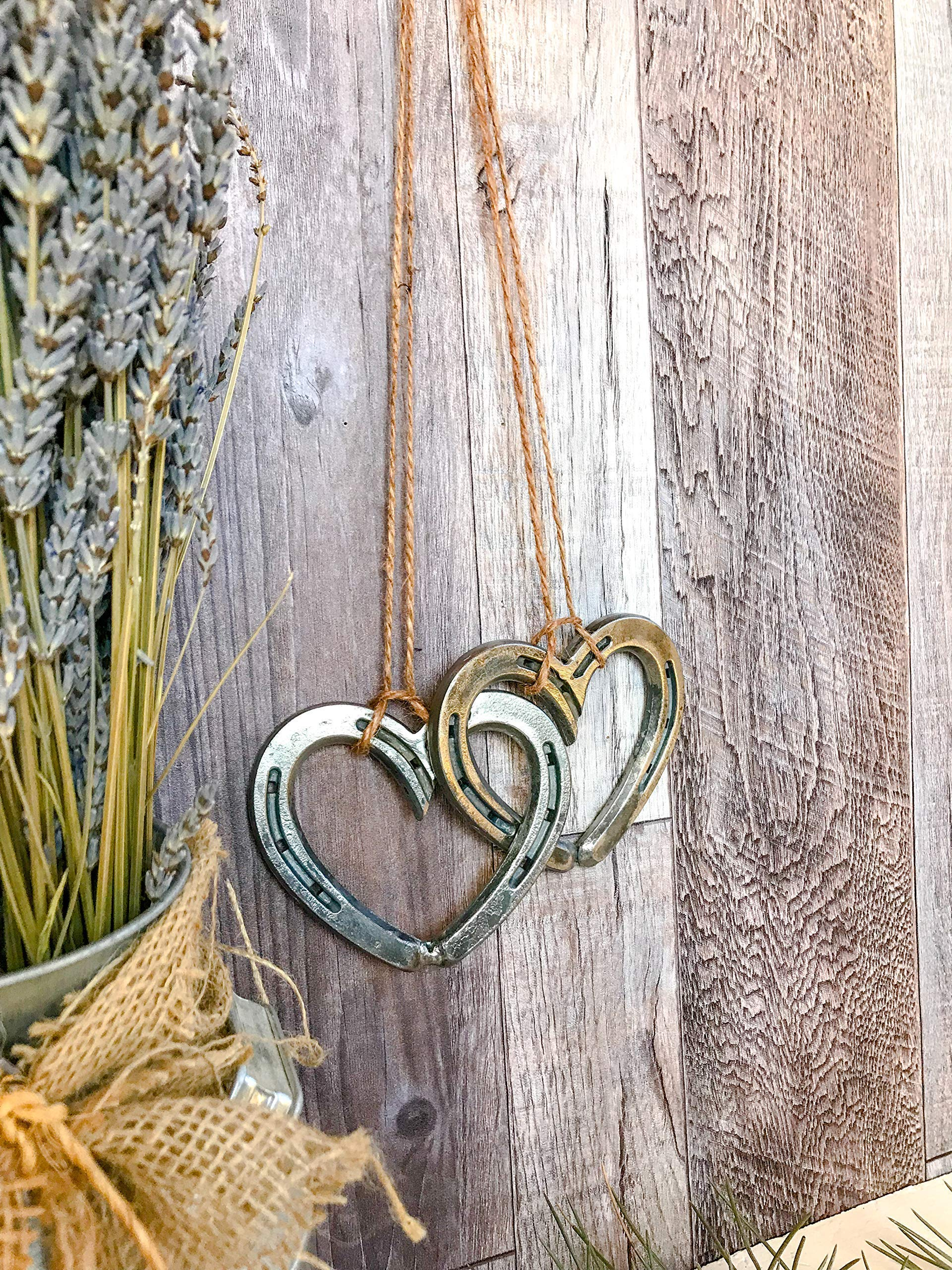 Metal Wall Heart Decor for Farmhouse, Horseshoe Home Decor, Rustic Home Decor, Wedding gifts, Love Gifts for Wife, Country Home Decor by Rustic and Country