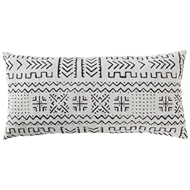 Rivet Mudcloth-Inspired Decorative Throw Pillow, 12  x 24 , Pale Grey