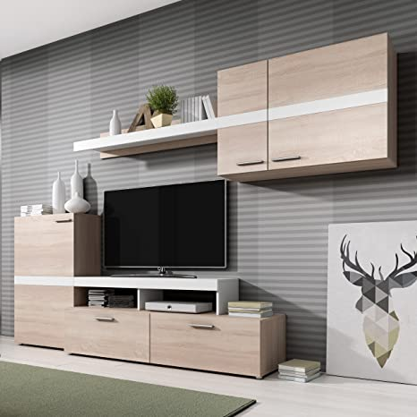 Homely - Mueble de salón Modular Marcos Color Roble Sonoma y Blanco de 260 cm