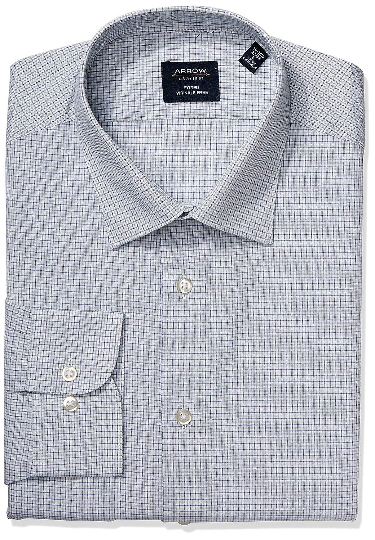 Arrow 1851 Mens Dress Shirt Fitted Check Dress Shirt