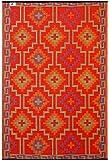 Fab Hab Reversible Outdoor/Indoor Rug | Perfect for Decking, Garden, Patio | Mold, Mildew, UV & Stain Resistant | Lhasa - Orange & Violet | 150 cm x 240 cm