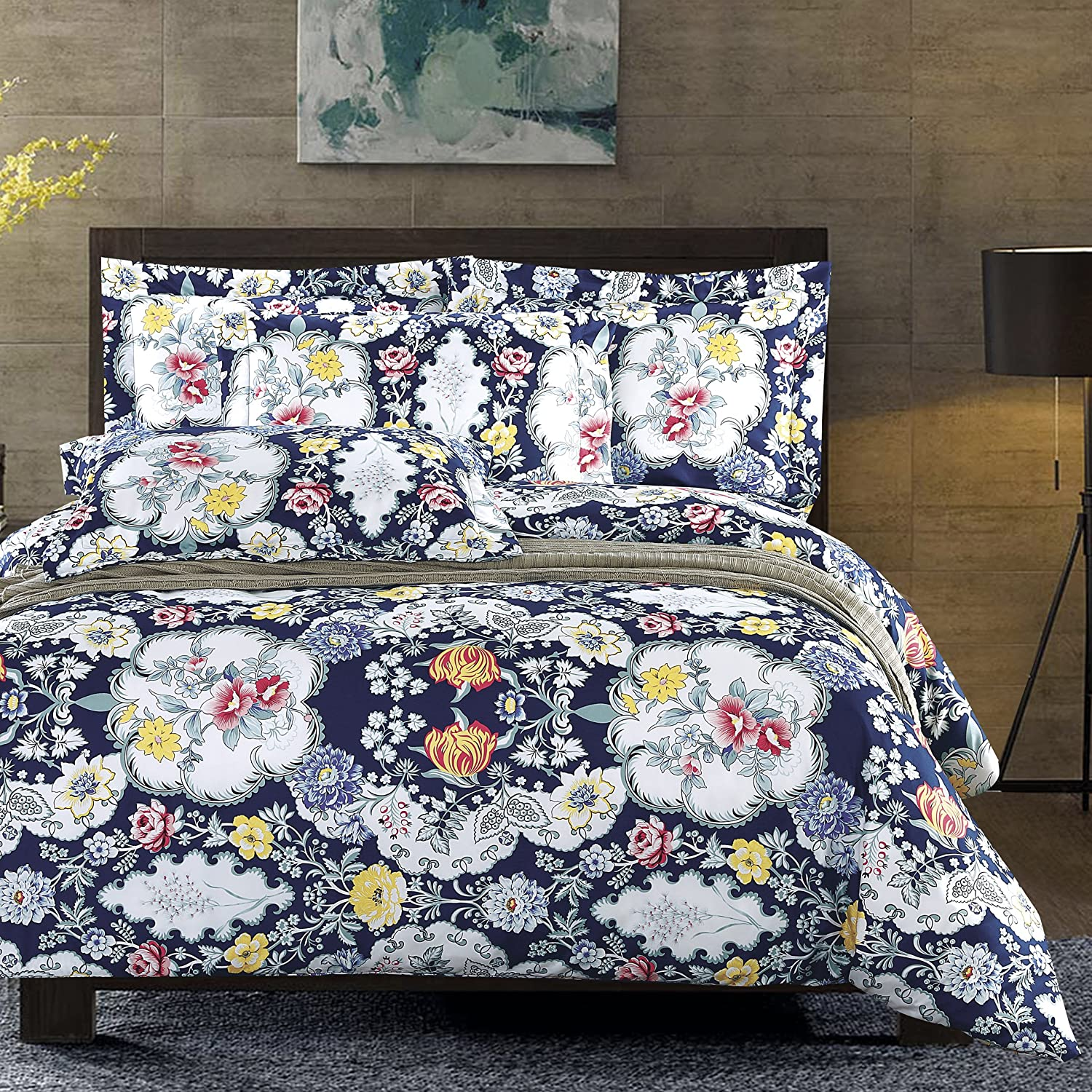 DelbouTree 3pcs Bedding Set,Lightweight Microfiber Duvet Cover Set,Full Queen size Navy Blossom