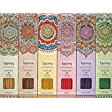 Premium Incense Sticks 6 Set Gift Pack with a Sparkly Holder In Each Box 240 Sticks, by Karma Scents